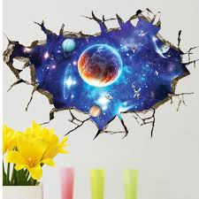 3d Sticker Outer Space Wall Stickers Home Decor Mural Art Removable Galaxy Wall Decals Sale Banggood Com