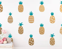 Pineapple Wall Decals 2 Color Pineapple Decals Gold Decor Etsy