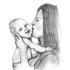 mother kissing baby pencil drawing
