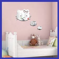 Hello Kitty 3d Mirrors Wall Stickers Decal Wall Art Removable Room Party Wedding Decor Home Decor Wall Sticker For Kids Room Wall Stickers Aliexpress