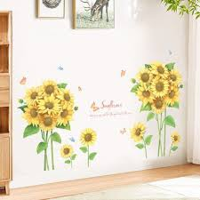 Sunflower Bouquet With Leaf Wall Stickers Quotes And Plants Wall Decal Greenery Lover Yellow Floral Wall Mural Living Room Home Decor Thefuns On Artfire