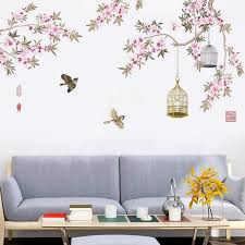 Chinese Painting Style Flower And Bird Wall Decals Chinese Etsy