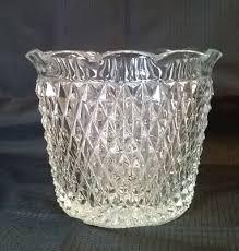 diamond point pressed glass ice bucket