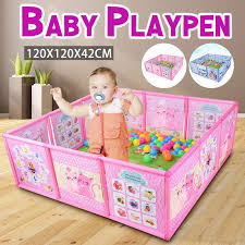 Hot Deal 92598 Baby Playpen Fence Plastic Baby Safety Fence Pool Folding Guard Protection Safety Products Infant Crawling Safety Guardrail Step Cicig Co