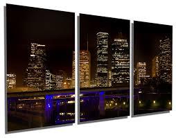 Houston Texas Night Skyline Metal Print Wall Art 3 Panel Split Triptych Contemporary Metal Wall Art By Canvas Quest
