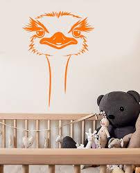 Vinyl Wall Decal Cartoon African Ostrich Head Big Bird Stickers 2742i Wallstickers4you