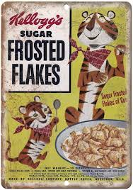 Kelloggs Frosted Flakes Tony The Tiger Vintage Cereal Box Metal Sign