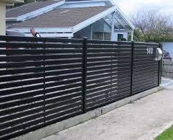 Metal Privacy Fence With Horizontal Slat Fencing Aluminium Slat Screens Slat Fencing Melbourne Fence Design Metal Fence Steel Fence