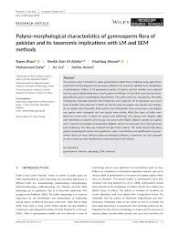 palyno morphological characteristics of