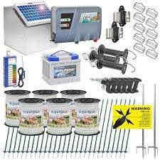 Voss Farming Solar Starter Kit For Horse Pony Fence 12 Volt For 400 Meter 3 Rows 1 Gate