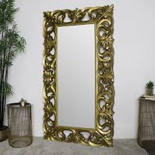 large ornate gold wall floor mirror