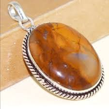 large agate stone pendant sterling
