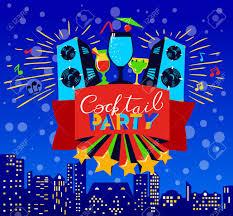 Coctel Letras En Banner Cartel Discoteca Con Altavoces Y Musica