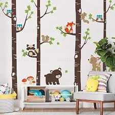 Amazon Com Simple Shapes Birch Trees With Cute Forest Animals Wall Decal Scheme A 96 243 Cm Tall Trees Home Kitchen