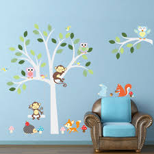 Wise Fox Squirrel Monkey Owls On White Tree Wall Stickers For Kids Room Love Birds Wall Decal Vinyl Sticker Nursery Room Decor Nursery Room Decoration Room Decorationvinyl Stickers Aliexpress