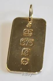solid 9ct gold dog tag style ingot