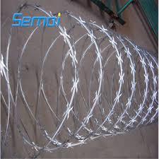 China 450mm Coil Diameter Razor Barbed Wire Hot Dip Prison Razor Blade Wire Fence Price China Razor Mesh Razor Wire Mesh