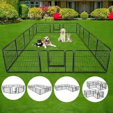 16 Ground Stakes To Secure The Playpen In Place 16 Pen Panels Create An Big Area For Pets To Play Steel Panel With Hin Dog Playpen Puppy Playpen Rv Dog Fence
