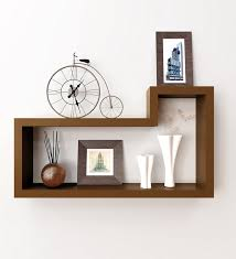 retro l shaped wooden wall shelf