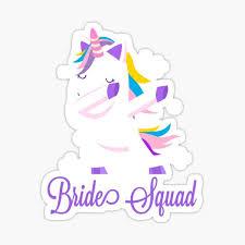 Bride Squad Purple Dancing Unicorn Bridal Gift Bachelorette Party Sticker By Jelisandie Redbubble
