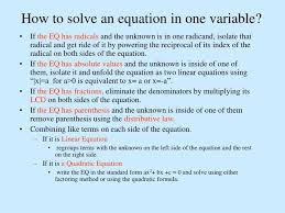 solve an equation in one variable