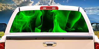 Amazon Com Signmission Green Flames Rear Window Graphic Truck View Thru Vinyl Decal Back Home Kitchen