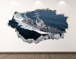 Navy Ship Wall Decal Destroyer 3d Smashed Wall Art Sticker Etsy