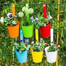 6pcs Living Home Hanging Flower Pots Balcony Planters Metal Bucket Fence Window Patio Garden Flower Pots Wall Hanging Planter Indoor Outdoor Pack Of 6 Colors Walmart Canada