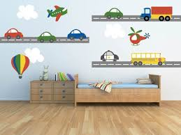 Truck Train Transportation Airplane Car Wall Decals Kids Wall Stickers Peel Stick Vinyl Bedroom Nursery Baby Boy Room On The Road Again In 2020 Boys Wall Decals Kids Wall Decals Nursery