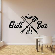 Grill Bar Bbq Wall Stickers For Dining Room Barbecue Sausage Decor Interior Vinyl Wall Decal Nordic Home Decoration Art Wall Decal Printing Wall Decal Quotes From Joystickers 11 75 Dhgate Com