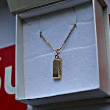 supreme gold bar pendant 14k gold bar