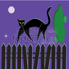 Black Cat Walking On A Picket Fence During The Night Clipart Commercial Use Gif Eps Svg Clipart 144526 Graphics Factory