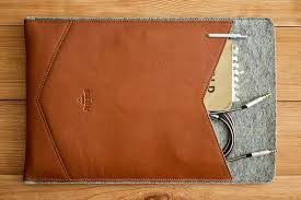 macbook case with a leather pocket
