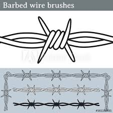 Barbed Wire Brushes Brushes For Illustrator To Draw Barbed Wire Three Different Versions Unfilled With White Fill And In Silhouette Buy This Stock Vector And Explore Similar Vectors At Adobe Stock