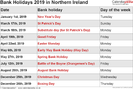 Bank Holidays 2019 in the UK, with ...