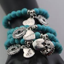 whole 12pcs blue stone beads snap