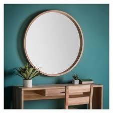 solid oak sofia round wall mirror