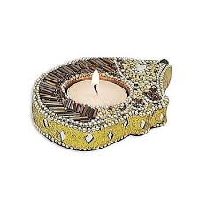 natural agate candle holder recion wood