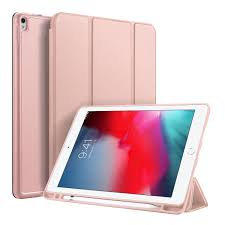 Wholesale DUX DUCIS For iPad air 3 2019 / ipad pro 10.5 PU Leather+TPU  Bottom Shell 3 Folding Protective Case with Pen Holder Pink From China