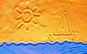 Tapeta na monitor | Léto | kreslení v písku, sluníčko, muž o'