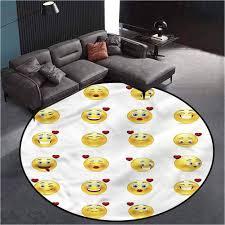 Amazon Com Love Outdoor Round Rug Kids Crawling Mats Child Activity Round Carpet Valentine Emoticons Comical 6 3 In Diameter Kitchen Dining