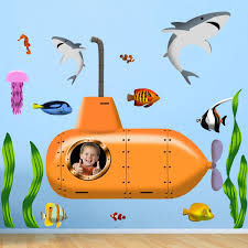 Vwaq Ocean Submarine Fish Peel And Stick Wall Decals Upload Your Own
