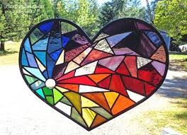 stained glass suncatcher heart shaped