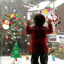 Shop Christmas Decoration Window Glass Stickers Merry Christmas Santa Claus Snow Wall Sticker Home Decals Online From Best Wall Stickers Murals On Jd Com Global Site Joybuy Com