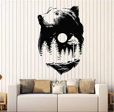 Amazon Com Iofjs Cool Tree Vinyl Wall Decal Sticker Animals Bear Full Moon Nature Forest Wood Midnight Wall Decor Removable Art Mural 56x85cm Kitchen Dining
