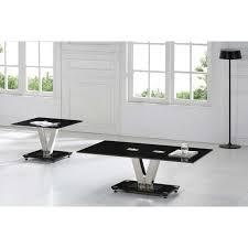 v range black glass coffee table
