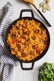 arroz con salchicha cuban style yellow