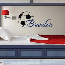 Custom Made Cool Football Art Boys Name Wall Decals With Soccer Ball Wall Stickers Home Kids Room Decor Vinyl Home Decoration Name Wall Decals Wall Decalsdecorative Vinyl Aliexpress