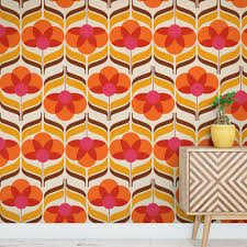 flower groovie 70s pattern wallpaper