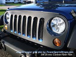 Jeep Wrangler Grill Decal Skin In Textured Carbon Fiber Film Powersportswraps Com